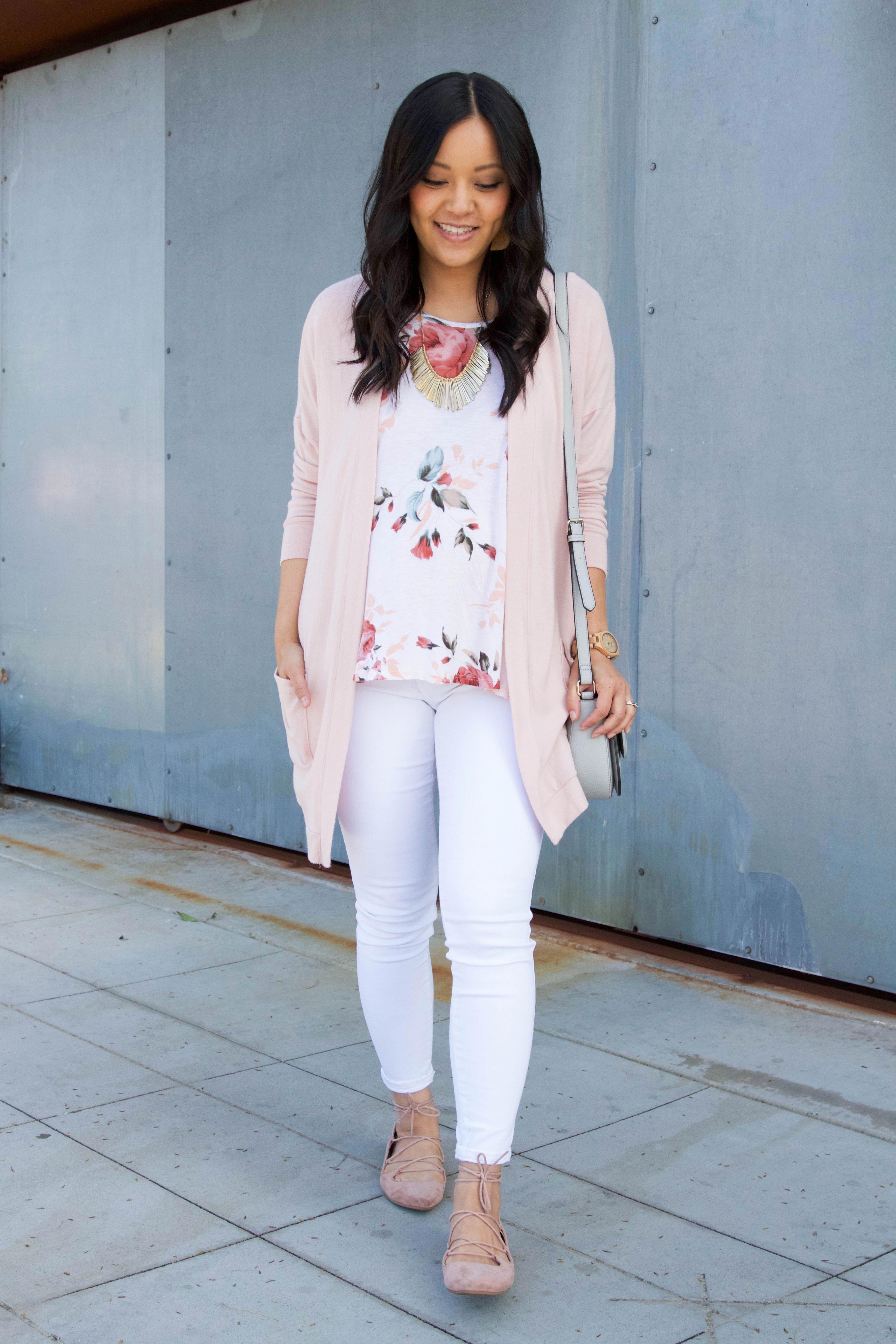 c7a2835a9b8 Blush cardigan + lace up flats + white jeans + floral top + statement  necklace  PlusSizejeansoutfit
