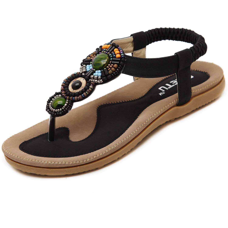 f559cfebdea2 SHFZ Womens Ladies Summer Bohemian National Thong Sandals Flats Flip Flops  Beach Shoes (US 8.5