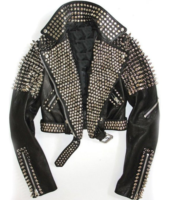 0a4eec5cf6 Handmade Men Black Leather Rock Steam Punk Style Studded Biker Jacket  Silver Long Studs Spiked Jacke