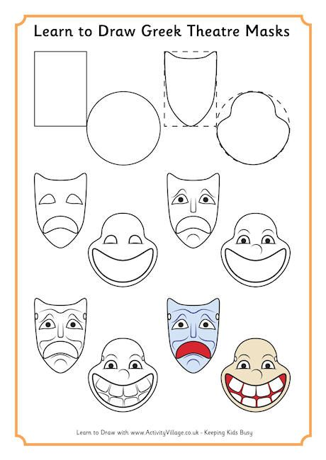 learn to draw greek theatre masks ancient greece rome and egypt