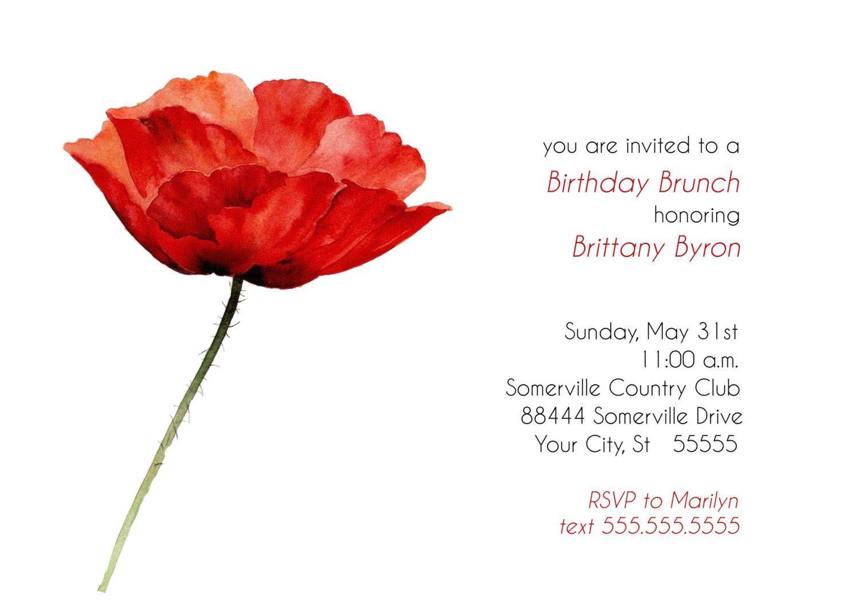 Poppy Birthday Brunch Invitation #gardenPartyInvitation birthday ...