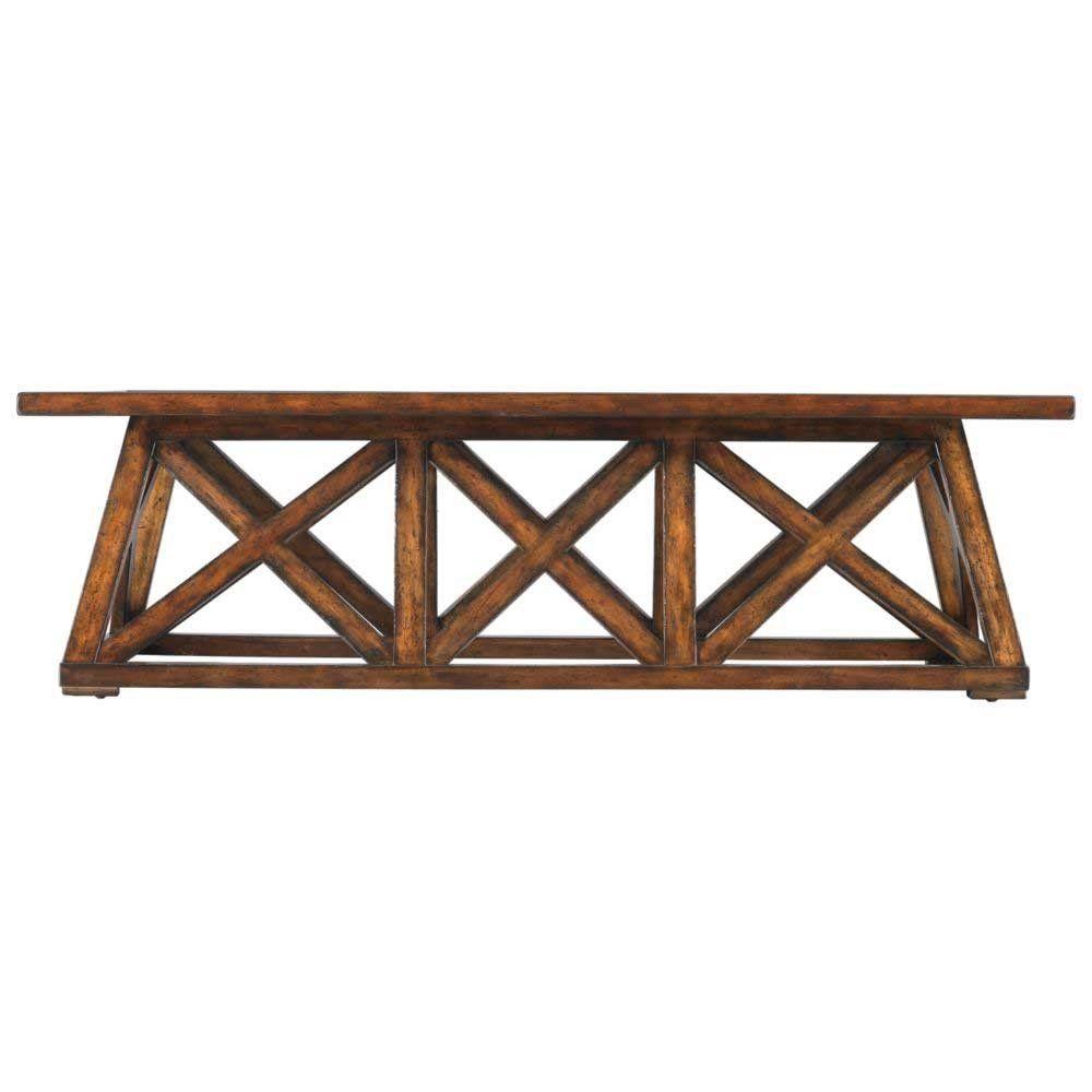 Stanley modern craftsman tobacco manhattan low bridge coffee table