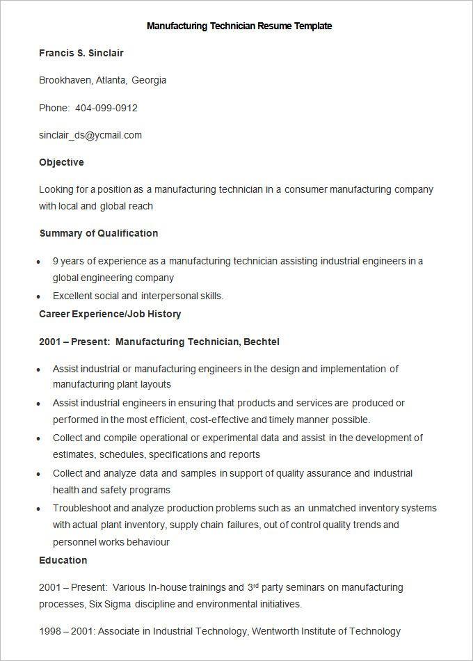 Six Sigma Resume Amusing Manufacturing Resume Templates  13 Free Printable Word & Pdf .