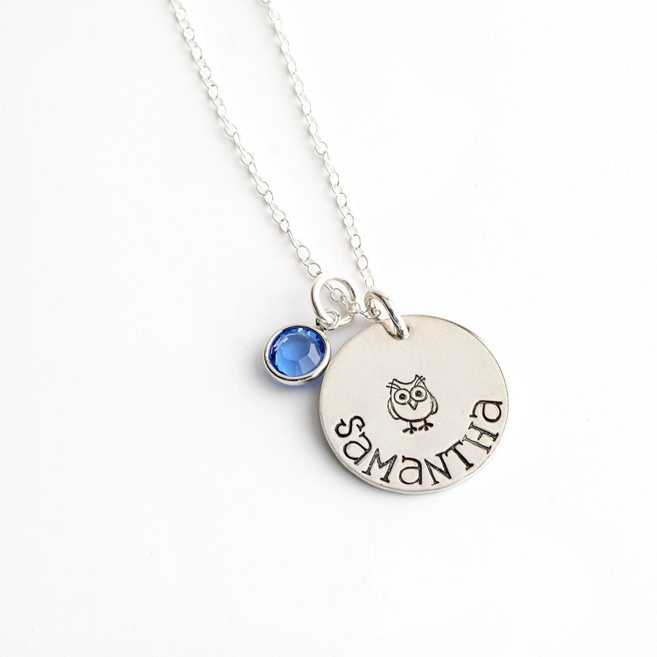 Personalized owl charm necklace sterling silver owl charms owl