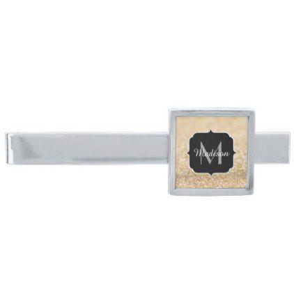 #monogrammed - #Beautiful champagne gold glitter sparkles Monogram Silver Finish Tie Clip