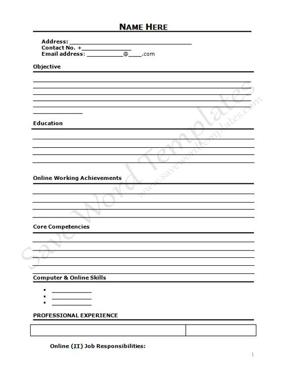 Curriculum Vitae Blank Form - http\/\/wwwresumecareerinfo - free resume download in word format