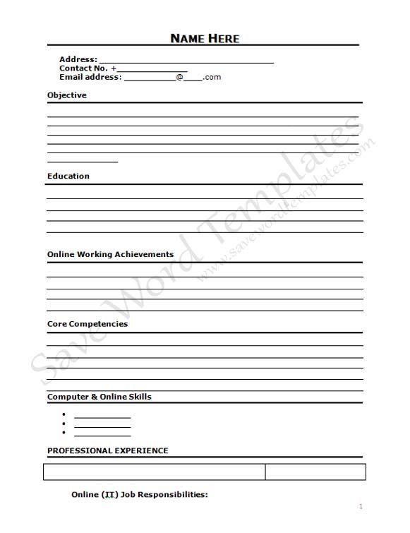 The Curriculum Vitae Handbook Curriculum Vitae Blank Form  Httpwwwresumecareer
