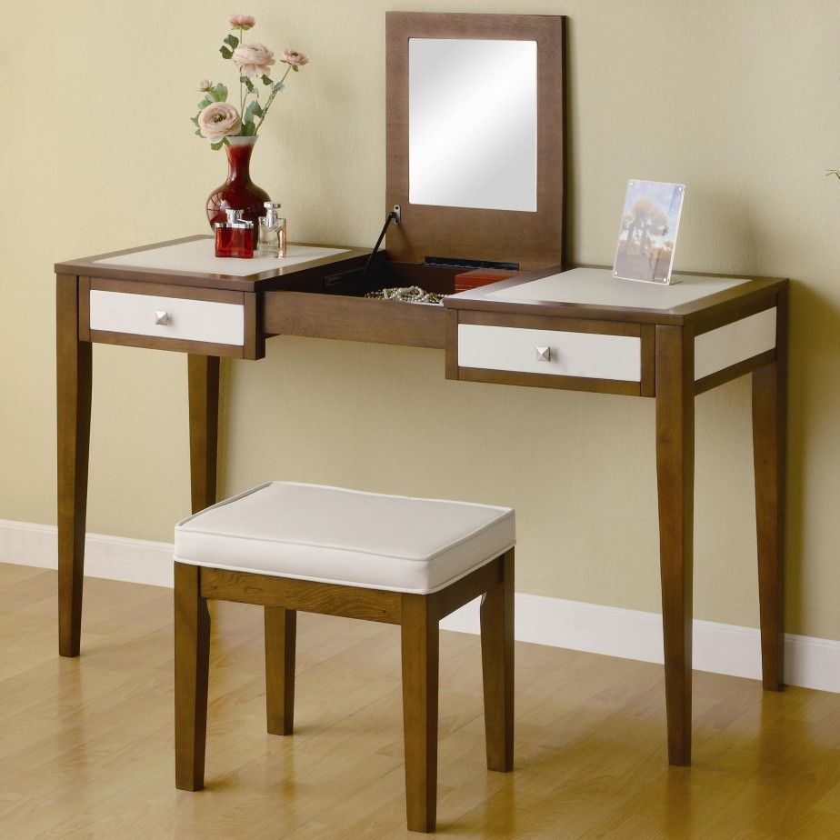 Furniture. Modern Makeup Vanity Stools And Table With Lift Up Top ...