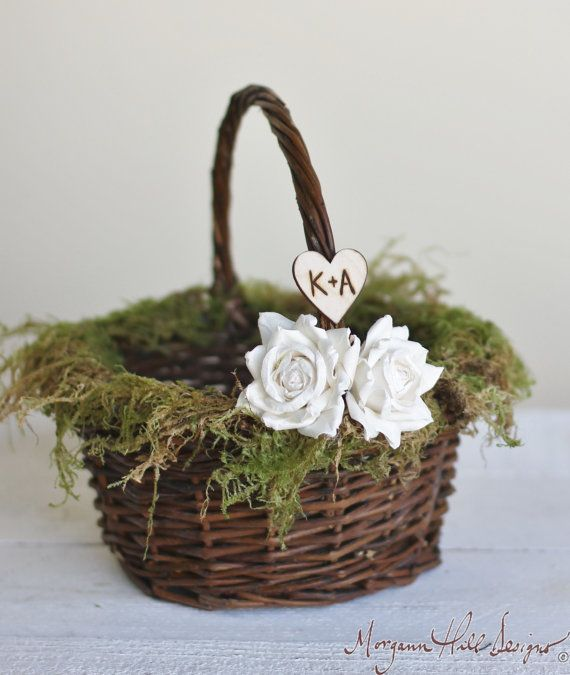 Personalized Flower Girl Basket Rustic Barn Wedding Moss And Paper Roses (Item Number 140155) NEW ITEM via Etsy