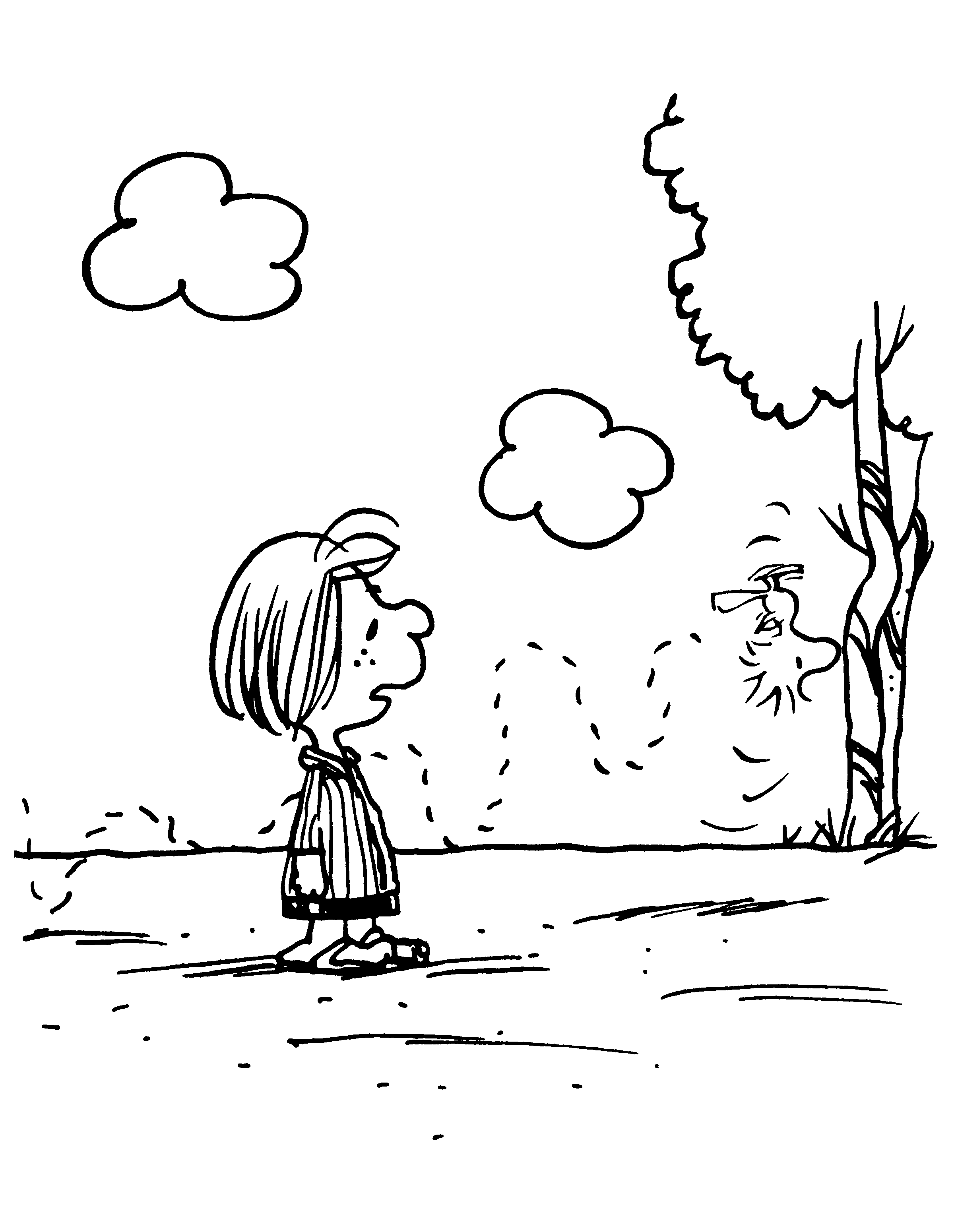 peppermint patty en woodstock snoopy coloring pages