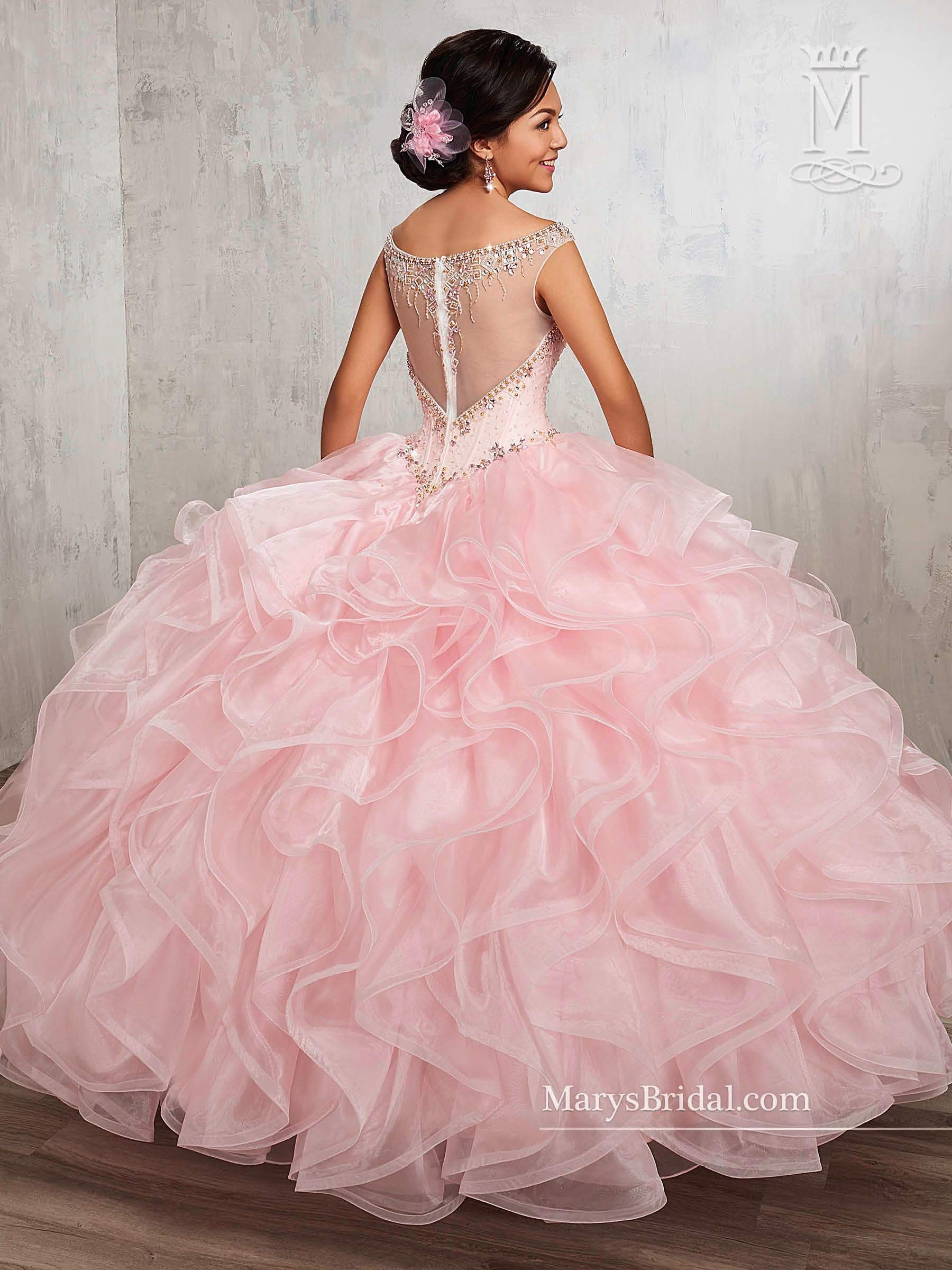 39e24e9bcd2 Illusion Ruffled Quinceanera Dress by Mary s Bridal Princess 4Q513 ...