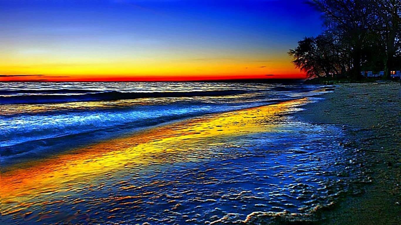 Dramatic Hd Nature Wallpapers Beach Wallpaper Rainbow Sky