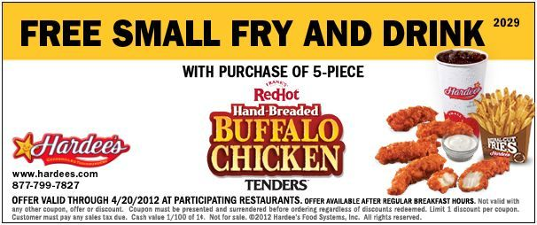 Hardees Free Small Fry and Drink Free fry, Free