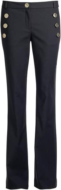 Calça feminina preta modelo flare com botões dourados com uma estrela do mar - Visite Riachuelo.com.br