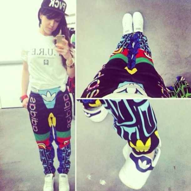 pants tracksuit adidas adidas originals adidas wings jeremy scott colorful  cool girl style swag