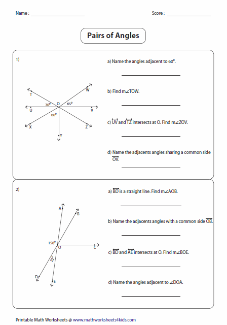 Angle Pair Relationships Worksheet 1 5 Everybody Is A Genius Angle