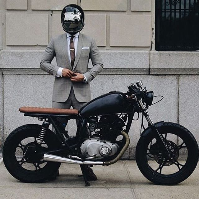 @dapperschannel The suited racer with his noble steed. -Lando Griffith- ______________________ #gentlemen #dapper #photooftheday #mensfashion #styleblogger #fashionstyle #beard #luxury #suit #tie #success #vacation #instagood #vscocam #fashion #caferacer #inspiration #style #instalike #goals #vintage#quote #ridedapper #nyc #instafashion #ootd #tattoo #ink #classic#swag