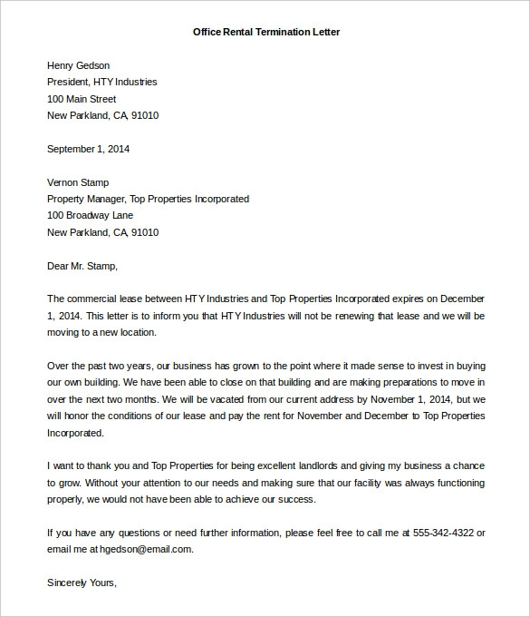 free form letter template  9+ Rental Termination Letter Templates - Free Sample ...