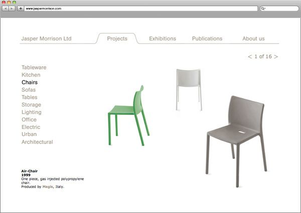 Charlie Smith Design website design for Jasper Morrison #website #design #furniture #JasperMorrison