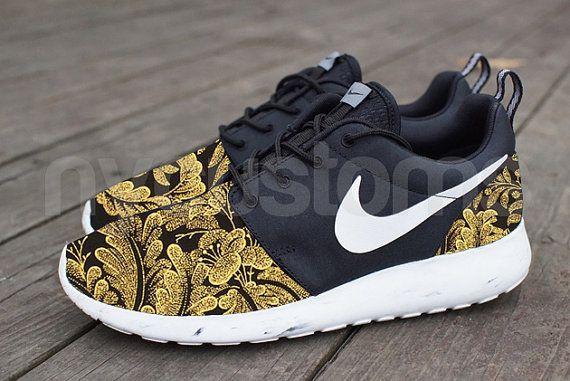 Items similar to Nike Roshe Run Black White Marble Metallic Gold Floral  Supreme Print V5 Edition Custom on Etsy. Nike Shoes SaleRunning ...