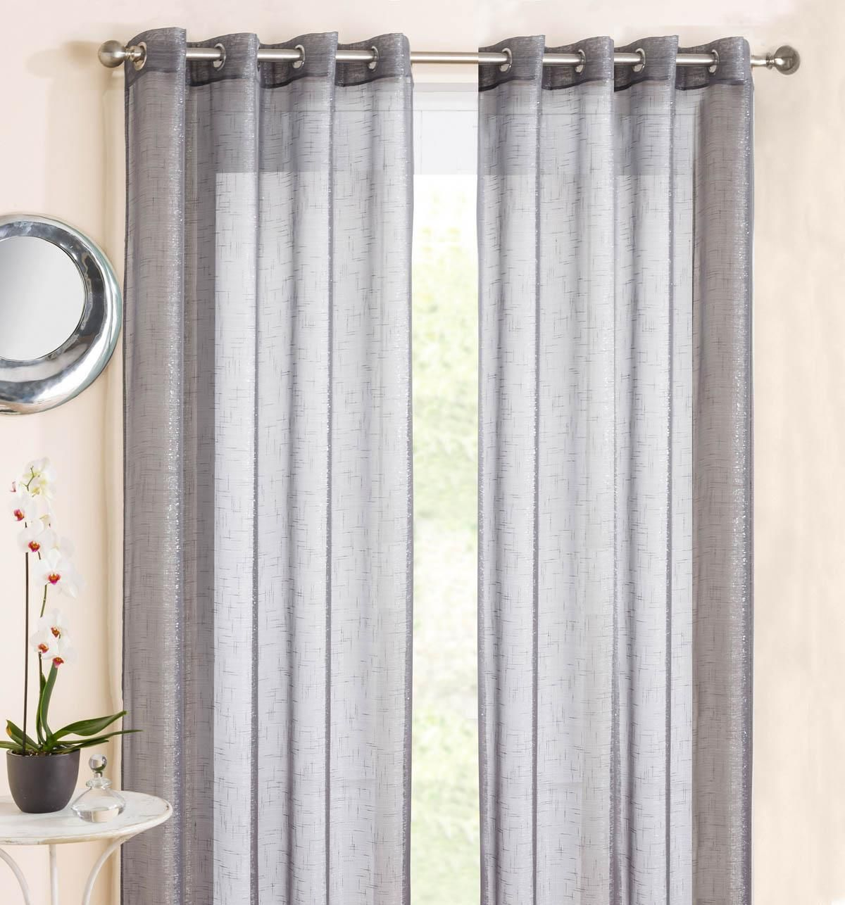 Marrakesh Eyelet Voile Panel Grey | Marrakesh, Conservatories and ... for Grey And White Voile Curtains  150ifm