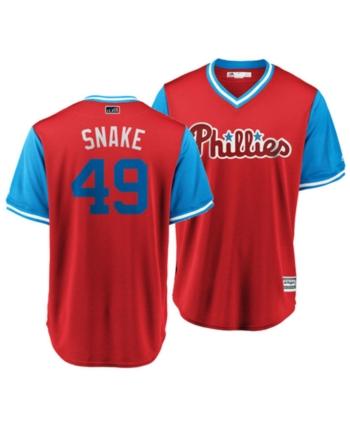 aff76f395 Majestic Men s Jake Arrieta Philadelphia Phillies Players Weekend Replica Cool  Base Jersey - Red XXL