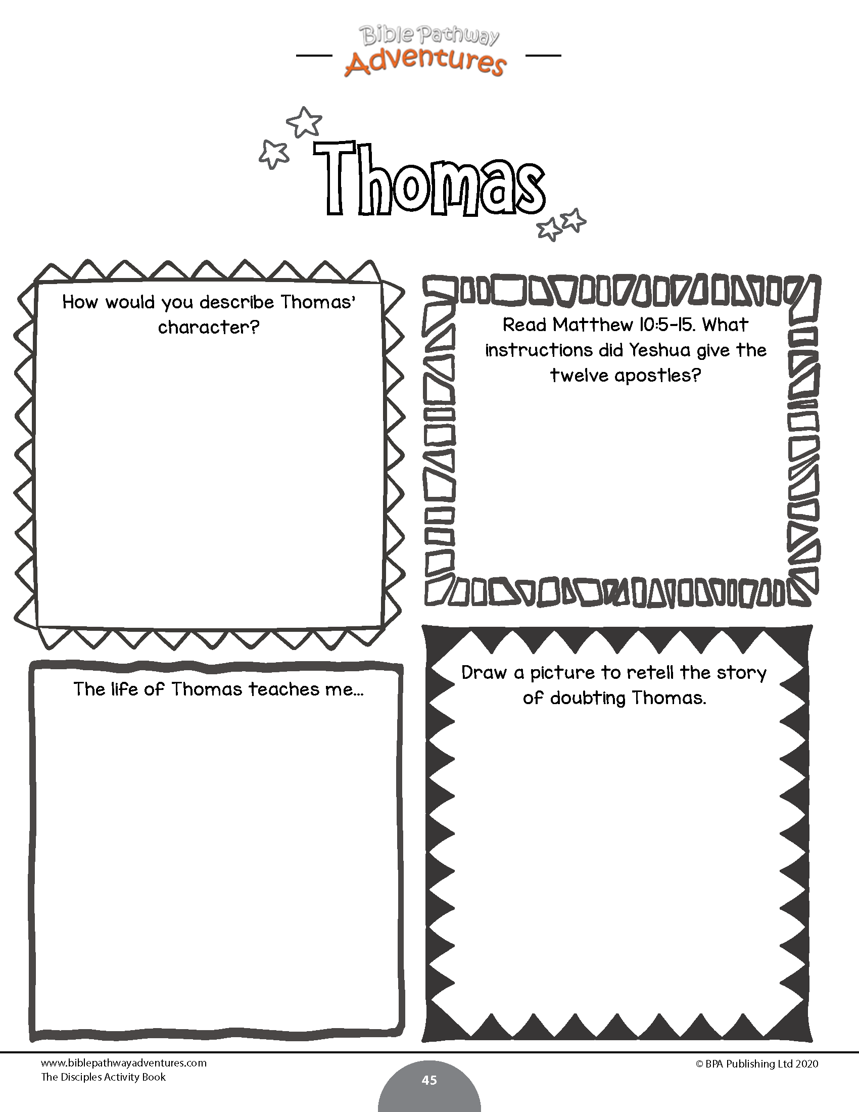 The 12 Disciples Activity Book