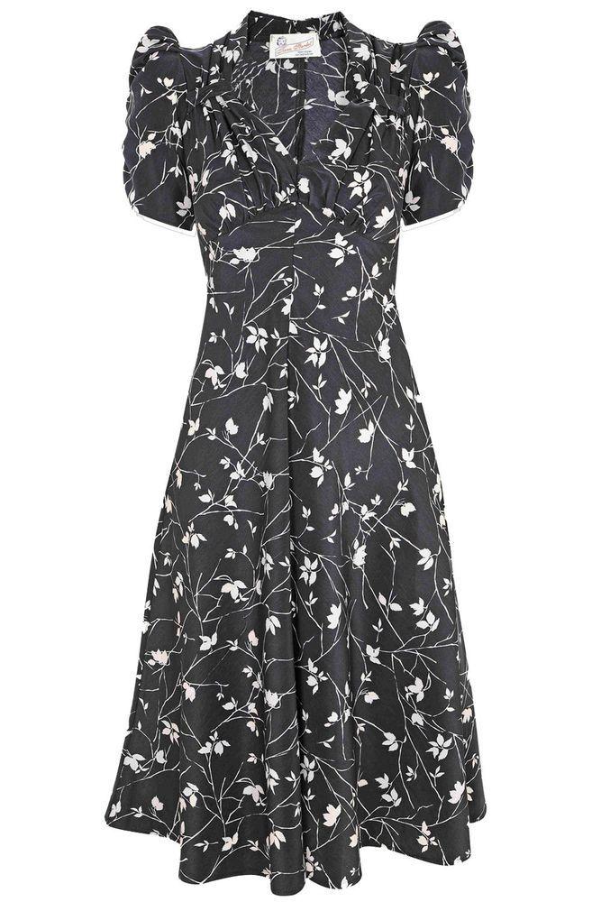 Tara Starlet 1940s 40s Style: Tara Starlet Black Floral Sweetheart Dress Tea Dress