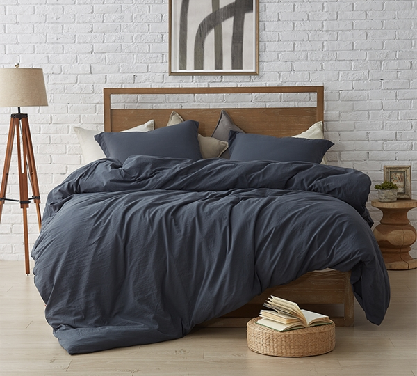 You'll love your soft and cozy King bedding when you add this incredibly comfortable oversized King XL comforter to your King bed. Made with extra thick and comfy down alternative inner fill and with a super soft microfiber cover, this faded black King oversize comforter will add style and comfort to your King size bed