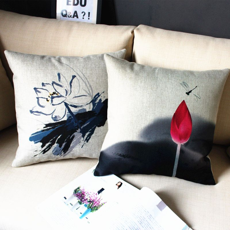 Chinese Pillow Cover Chinese Classical Ink Painting Lotus Mountain Throw Pillow Cover Pillowcase Wholesale Ink Painting Throw Pillows Pillows