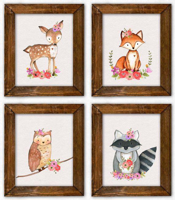Girl woodland nursery print set girl wall art baby girl for Room decor printables