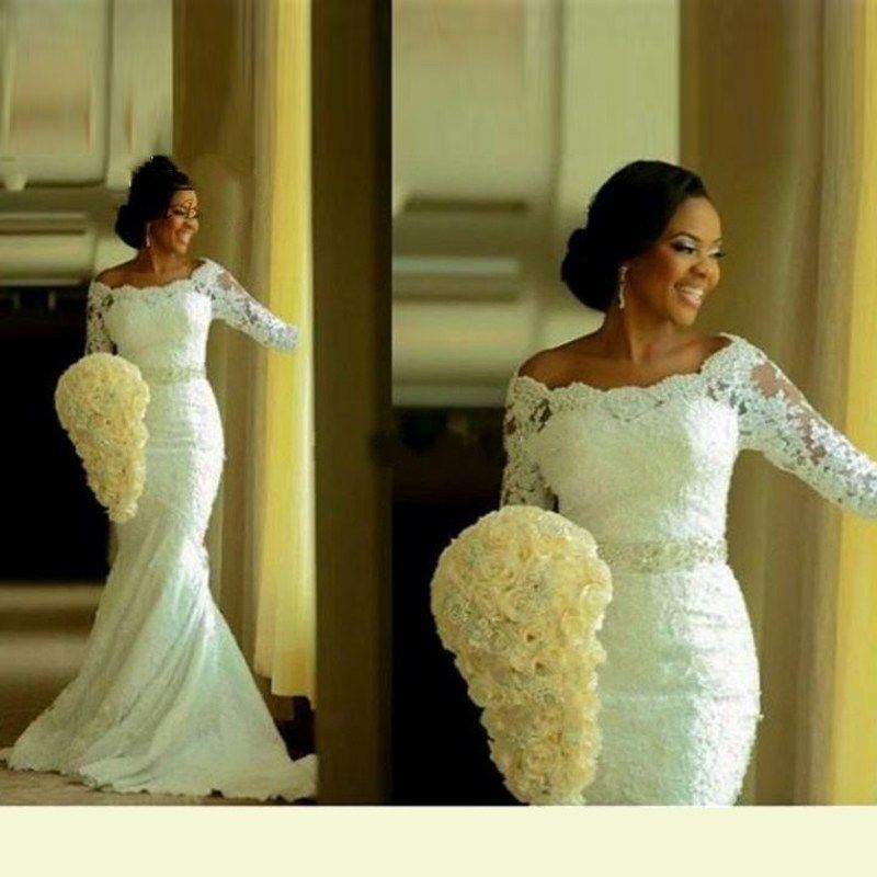 Mermaid african wedding dress three quarter sleeves for Wedding dresses with sleeves for sale