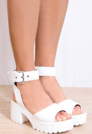 35d34c692b73 WHITE STRAPPY SANDALS CLEATED PLATFORMS PEEP TOES HIGH HEELS