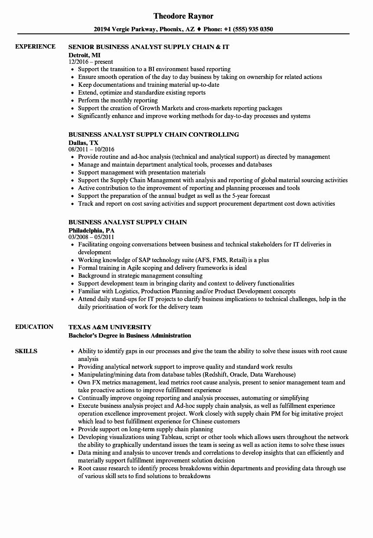 Business Analyst Intern Resume Inspirational Business Analyst Supply Chain Resume Samples Business Analyst Resume Examples Job Resume Examples