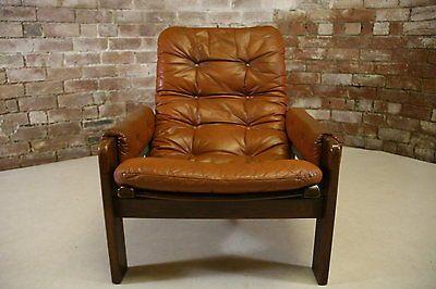 1960s Pastoe Dutch Leather Teak Wood Vintage Armchair Lounge Chair