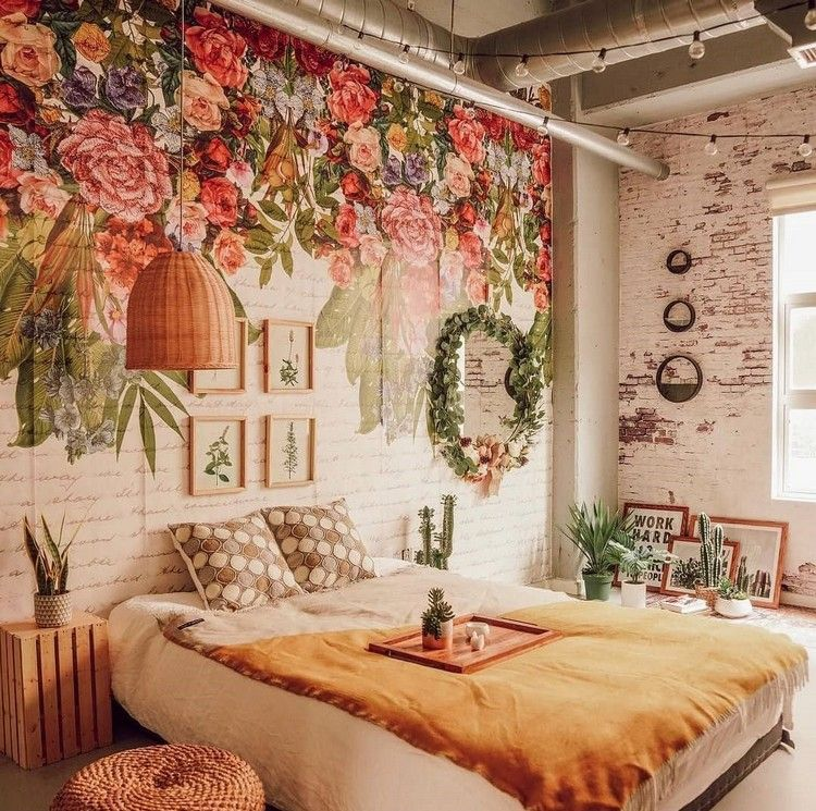Bohemian Bedroom And Bedding Design Floral Bedroom Bohemian Bedroom Decor Home Wallpaper Boho bedroom wallpaper ideas