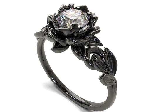 Gothic Diamond Engagement Ring Black Engagement Ring Gothic Engagement Ring Black Gold Ring
