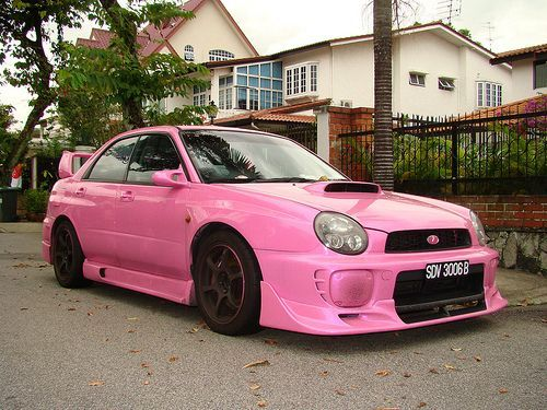 Photo of Pink Subaru WRX…maybe a little over kill on the pink for even me, but still worth pinning..