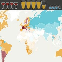 Wine, Beer or Spirits? How much - and which - alcohol is drunk in the world during a week?