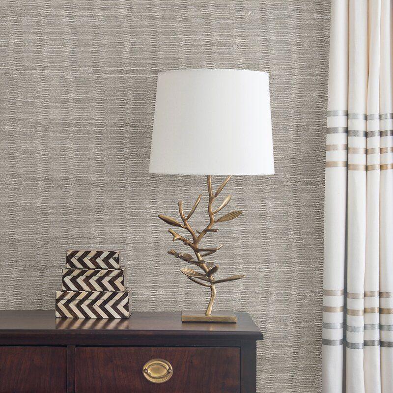"Liaohe Grasscloth 24' L x 36"" W Metallic Wallpaper Roll in"