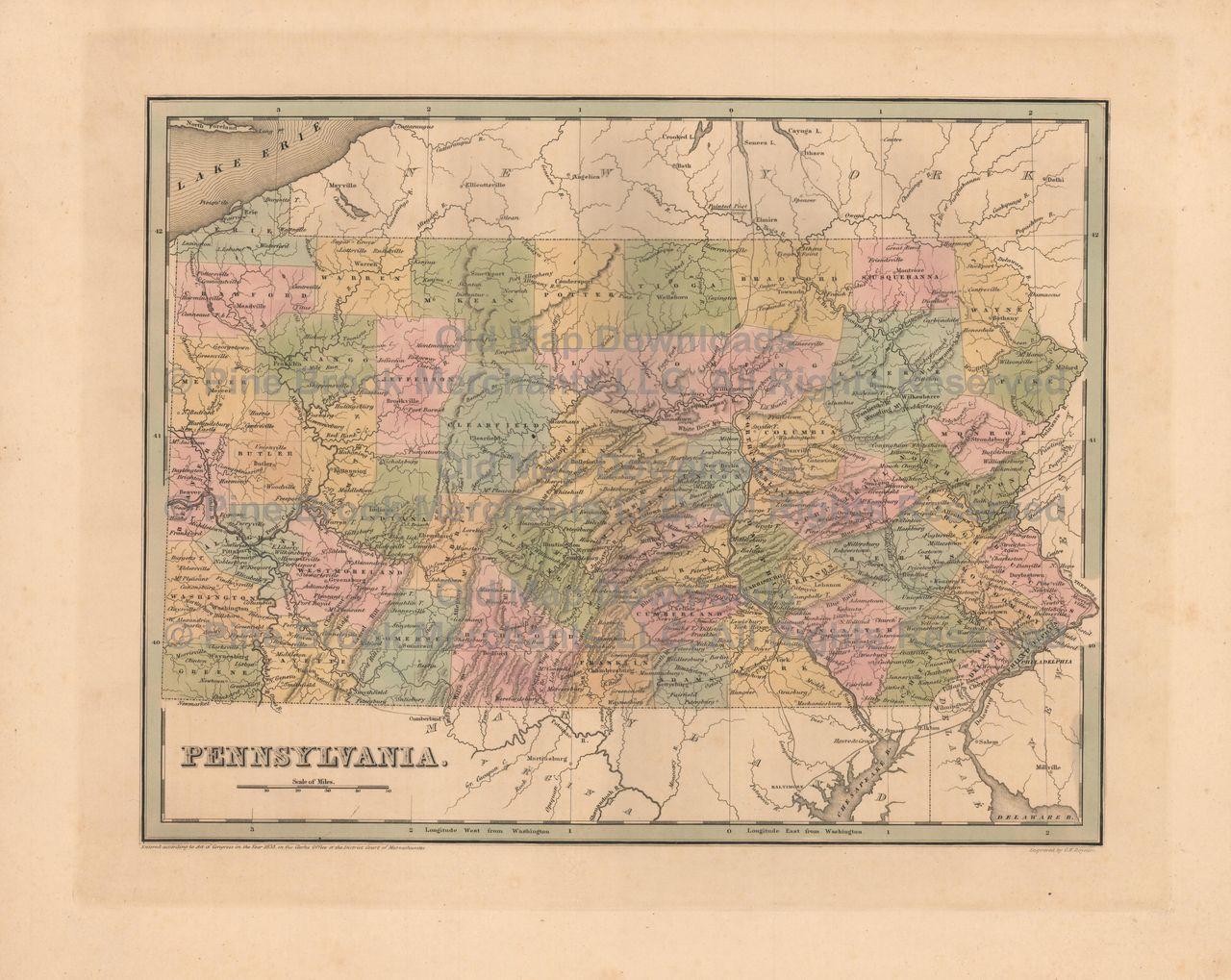 Pennsylvania old map bradford 1838 digital image scan