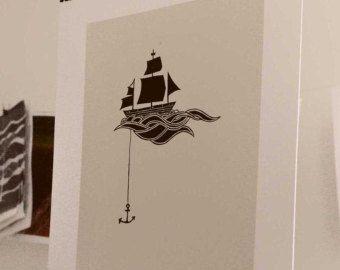 Anchored Ship Linocut Block Print