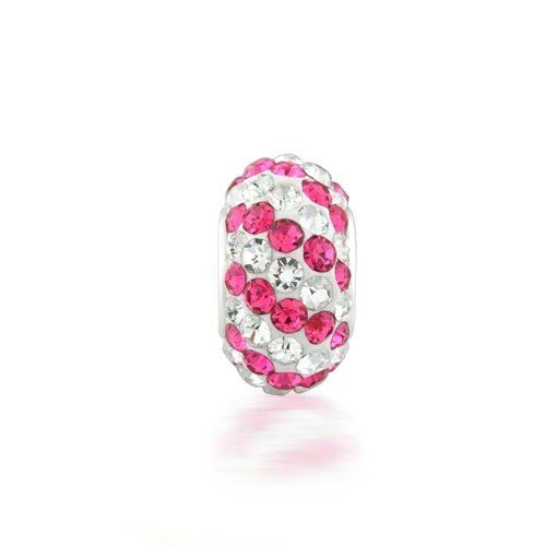 This Sterling Silver Pink Stripe Crystal Bead is the perfect addition to your European style charm bracelet. Made from a .925 Sterling Silver core that is completely nickel-free and glistening pink and clear striped colored crystals, this striped crystal bead has an inner core diameter of 4.5mm width, measures approximately 11mm diameter x 7mm width and weighs approximately 1.5 grams. For a look thats unique...