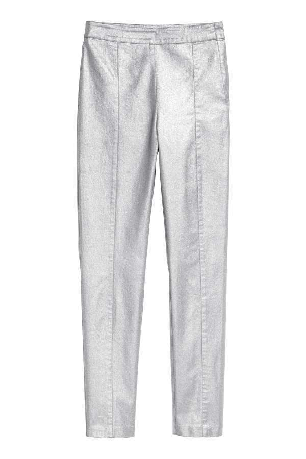 H M H   M - Slim-fit Pants - Silver-colored coated - Women ... b28dfa182fa12