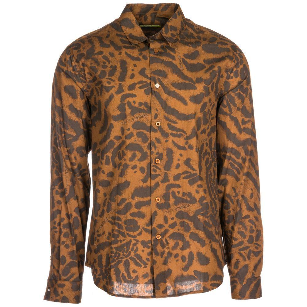 Versace jeans menus long sleeve shirt dress shirt new brown c