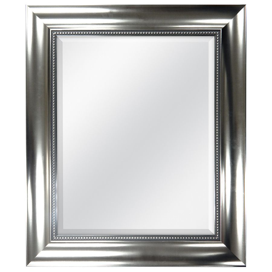 Decorative Brushed Nickel Mirror Style Selections 21 In X 25 In Brushed Nickel Beveled