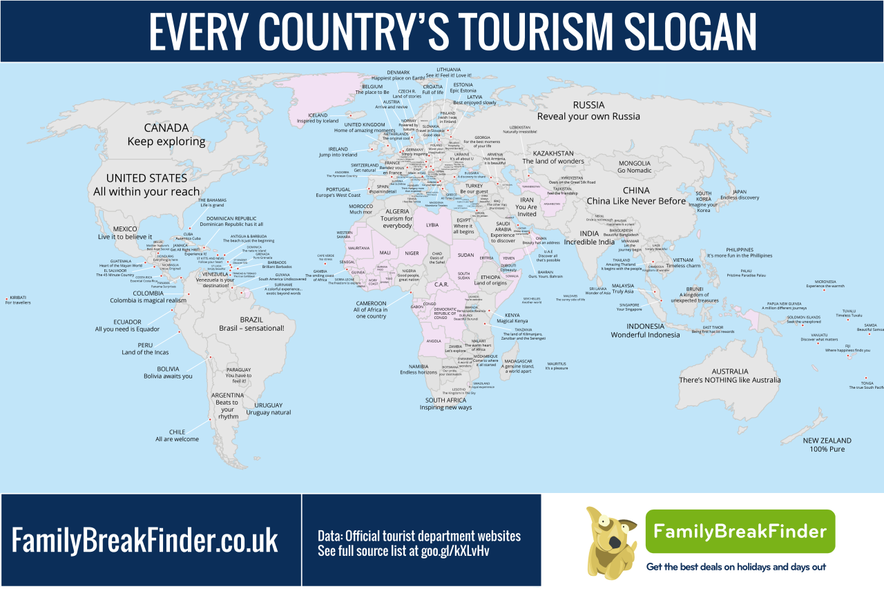 Map shows every countrys tourism slogan maps pinterest map shows every countrys tourism slogan gumiabroncs Gallery