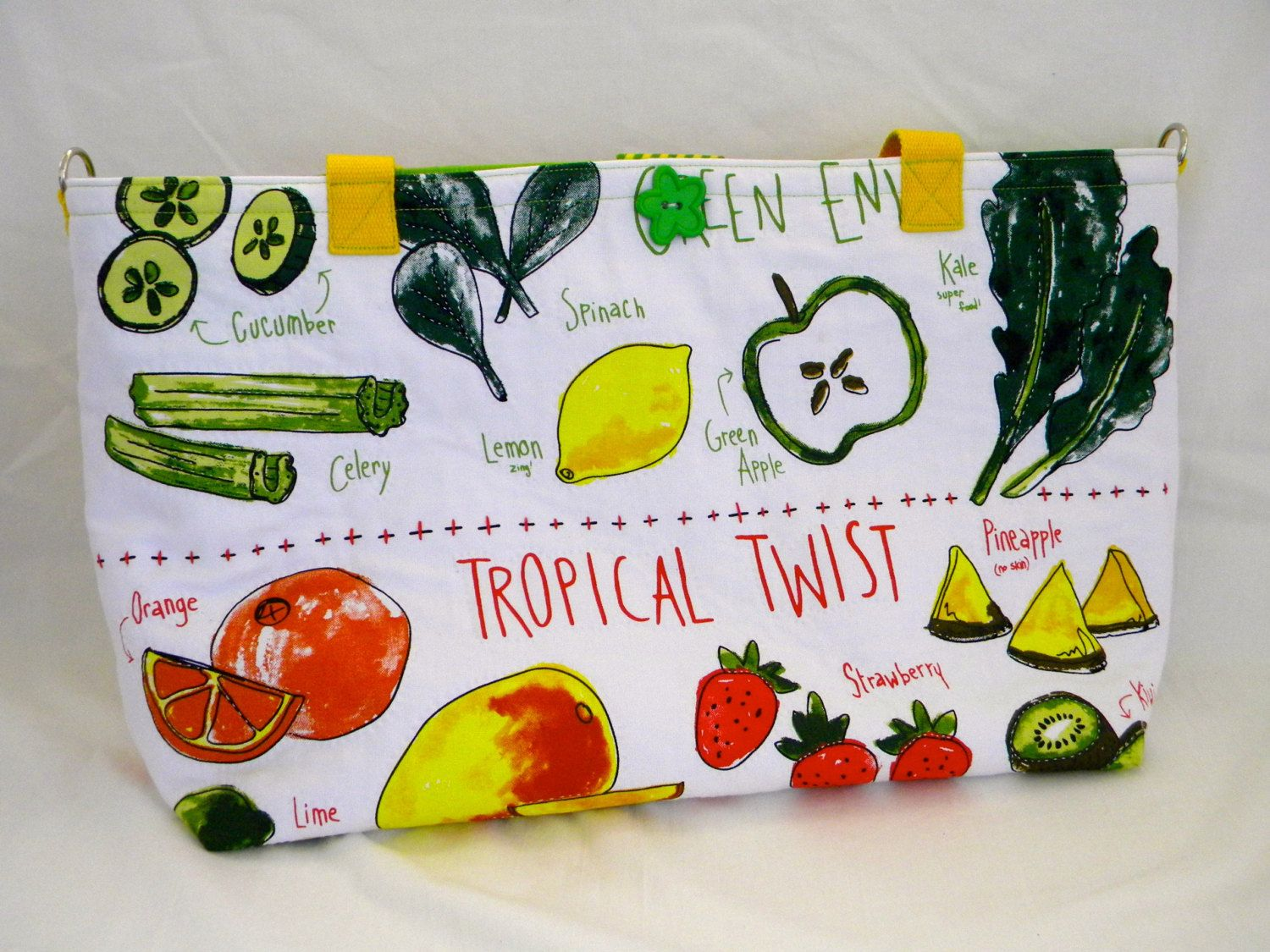 Hand Stitched Quilted Fruits Vegetables Vegan Tote or Cross Body ...