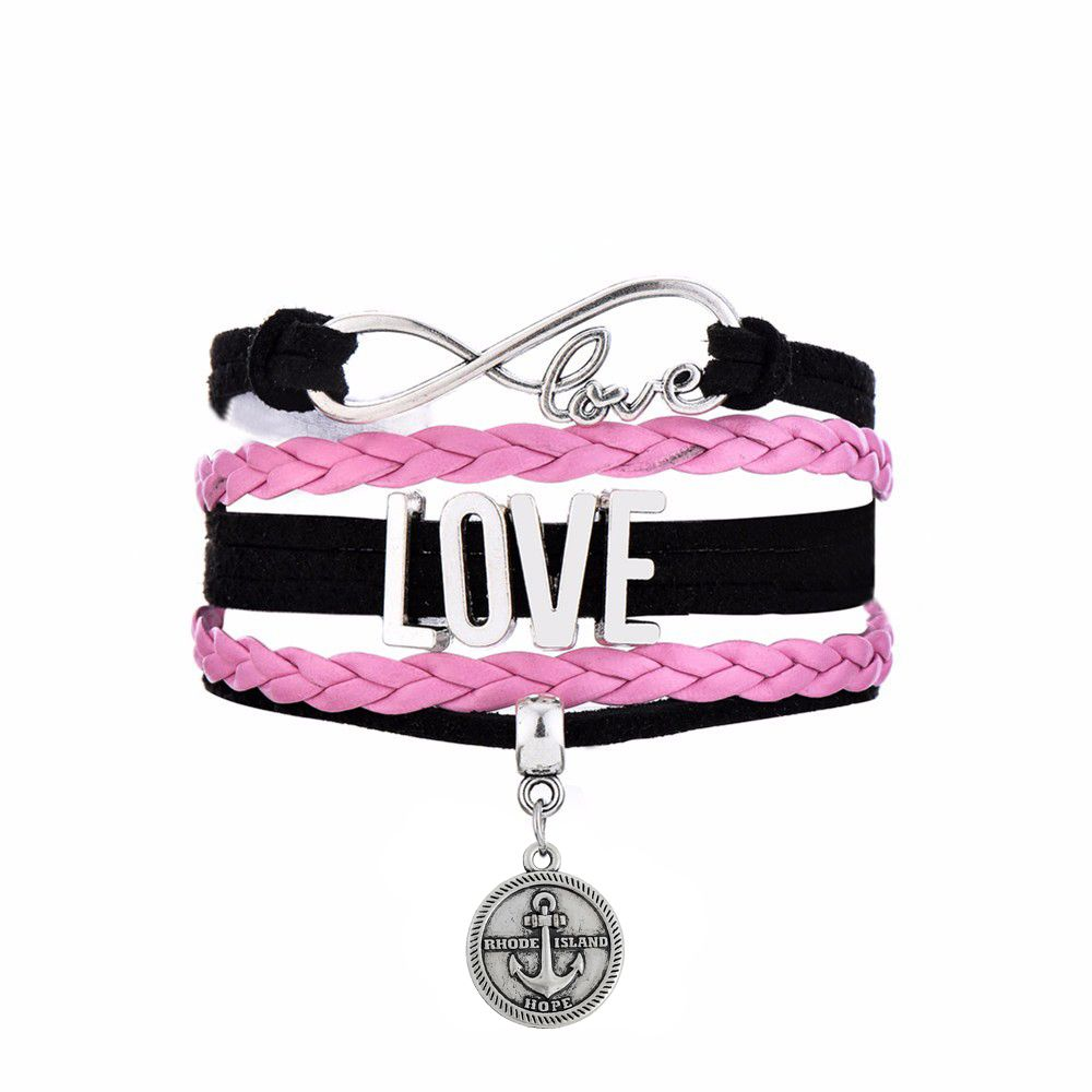 Find More Wrap Bracelets Information about New Arrival Infinity LOVE Connect With RHODE ISLAND HOPE Message Round Charm Black Pink Multi layer Braided Bracelet Men&Women,High Quality infinity love,China braided bracelet Suppliers, Cheap bracelet men from Winslet&Jean on Aliexpress.com