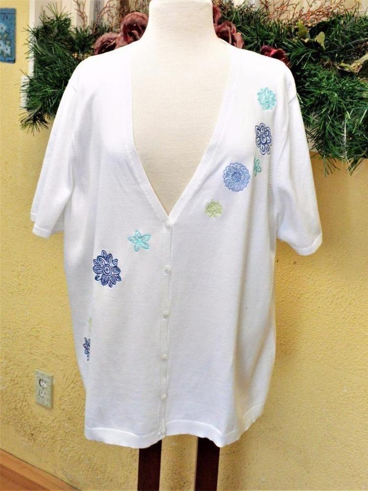 Details about CJ Banks 3X Plus Cardigan Sweater White/Multi Floral ...